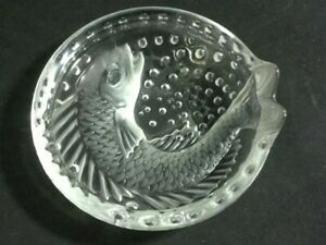 "Lalique France ""Concarneau"" Koi fish crystal cigar ashtray, signed"