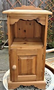 Vintage Bedside Cabinet ~ Pine Tall Rustic Ornate Pot Cupboard Table ~H 30''/77c