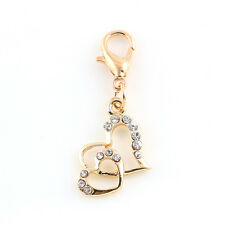 Love Charms ONE Double Heart  Design with 13Crystals + Lobster Clasp Hook