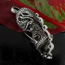 Vintage Dragon Pendant Sterling Silver Necklace Gothic Jewelry Gift 15g