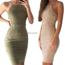UK Womens Ladies Back Lace UP Velvet Bodycon Strappy Bodycon Evening Party Dress