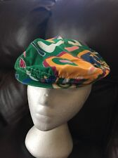 Vintage English CABBIE FLAT CAP Newsboy golf Gatsby Driving Ivy Green M colorful