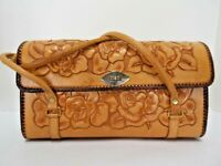 Handbag/Purse Detailed Hand Tooled Leather Rose Motif Made in Mexico EUC