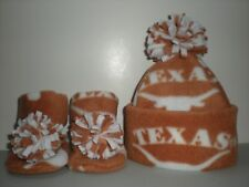 TEXAS LONGHORNS BABY HAT HANDCRAFTED newborn BOOTIES FLEECE BEVO UNIVERSITY