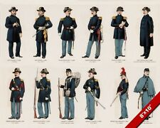 US CIVIL WAR UNION NORTH ARMY SOLDIERS IN UNIFORM PAINTING ART REAL CANVAS PRINT