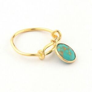 Simple Wear Green Copper Turquoise Yellow Gold Plated Gemstone Adjustable Ring