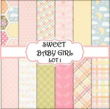 SWEET BABY GIRL - LOT 1  SCRAPBOOK PAPER - 12 x A4 pages