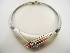 Vintage Napier Early 1980's Modernist Chevron Necklace, Silver Tone, Space Age
