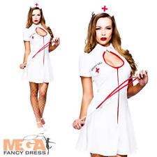 Naughty Nurse + Hat Ladies Fancy Dress ER Uniform Womens Adults Costume Outfit