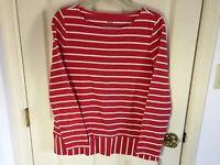 Woman's Talbots size medium red stripe long sleeve cotton blend top