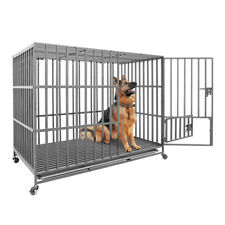 XXL Heavy Duty Pet Dog Cage Strong Metal Crate Kennel Playpen with Wheels & Tray