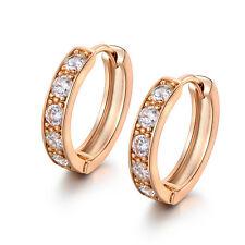 HUCHE Huggies Yellow Gold Filled Channel Diamond Cleart Topaz Lady Party Earring