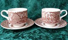 Vintage 2x Broadhurst Constable Brown Tea Coffee Cup Saucer 70s Dedham Lock