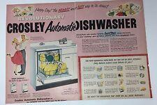 Original Print Ad 1952 CROSLEY AUTOMATIC DISH WASHER Vintage Artwork 2 Page