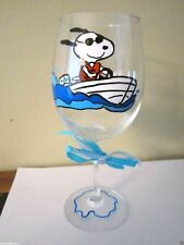 Hand Painted Wine Glass Snoopy in Boat