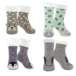 Ladies Girls Animal Novelty Slipper Bed Socks Fluffy and Furry Non Slip