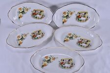 5 x Vintage Ceramic 'Greetings From Wales' Gilt Dishes Bowls Plates