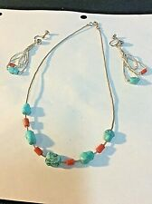 Earrings Turquoise and Coral Sterling Silver Necklace and