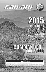Can Am Owners Manual Book 2015 COMMANDER 800R & COMMANDER 1000