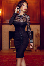 NEW BLACK EMBROIDERED TOP RUCHED BODYCON DRESS SIZE 10-12-14