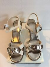 Marc By Marc Jacobs 10 Wedge Heels Shoes Cream Metallic $295 Sale