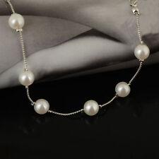 Classic Silver Pearl Chain Charm Bracelet Cuff Bangle Women Party/Bridal Fashion