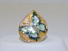 GENUINE! Mother of Pearl & Enamel Mosaic Butterfly Ring Solid S/Silver 925!