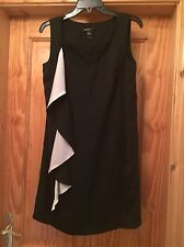Mango Black Silky Shift Dress With Silver/Ivory  Frill Size S Worn Once