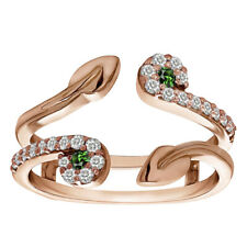 Ring Guard Enhancer In 14K Rose Gold 0.41 Ct Emerald & Diamond Two Stone Leaf
