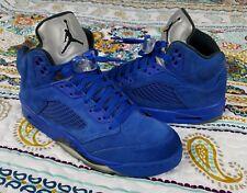 Air Jordan Retro 5 V Royal Blue Suede Sz 10.5 Basketball Shoes 2017 sneakers