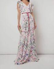 Marchesa NOTTE Womens Floral Printed Burnout Chiffon Gown Blush Size 12