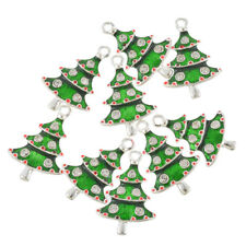 50PCs Enamel Rhines Christmas Tree Shape Charm Pendants Hanging Festival Decor