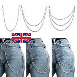 Jeans Trousers Pants Belt Key Chain Punk Gothic Metal Chains Rock Body 1/2/3 Pcs