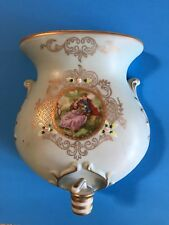 Vintage Porcelain Wall Pocket Fountain Painted Floral Japan Holy Water Planter