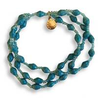 Paper Bead 3 Strand Bracelet - Various Colours - Handmade in Uganda - Fair Trade