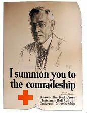 1918 Red Cross Poster of Woodrow Wilson Leo Mielziner