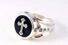 MEN'S HEAVY BLACK ONYX MEDIEVAL CROSS STERLING SILVER 925 STATEMENT BAND RING
