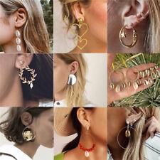 Fashion Women Statement Boho Geometric Shell Pearl Ear Stud Dangle Drop Earrings