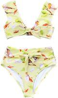 Cupshe 237979 Womens Top and Bikini Bottom Swimwear Set Yellow floral Size Small