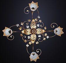 Plafoniera soffitto lampada classico ferro battuto foglie
