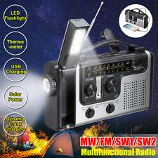 Emergency Solar Hand Crank Alert MW/FM/SW1/SW2 Radio SOS Power Bank LED USB