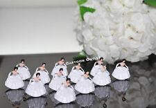 """24 PLASTIC FIGURES GIRL WHITE 1"""" BRIDESMAIDS QUINCEANERA CINDERELLA Cake Decor"""