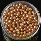 New 50pcs 6mm Round Glass Pearl Loose Spacer Beads Jewelry Making Gold