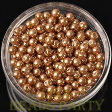 50pcs 6mm Round Glass Pearl Loose Spacer Beads Jewelry Making Gold