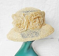 EXQUISITE EDWARDIAN STYLE ACCESSORIZE STRAW HAT SELF BAND 2 RSSETTES SUMMER FUN