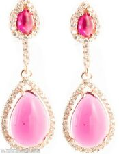 18k Rose Gold Plated Lab Made Red Ruby Hanging Women's Silver Earrings