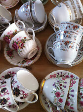 Job Lot 50 Pretty Vintage Tea Cups & Saucers- Ideal for use at Weddings