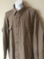 Cabela's Roughneck Men's Brown Stonewash Canvas Long Sleeve Shirt - Size Large
