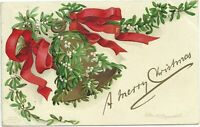 Ellen Clapsaddle Postcard Christmas Greeting Gold Bell With Mistletoe Red Ribbon