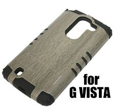 For LG G Pro 2 - HARD & SOFT RUBBER HYBRID ARMOR SKIN KICKSTAND CASE GREY WOOD